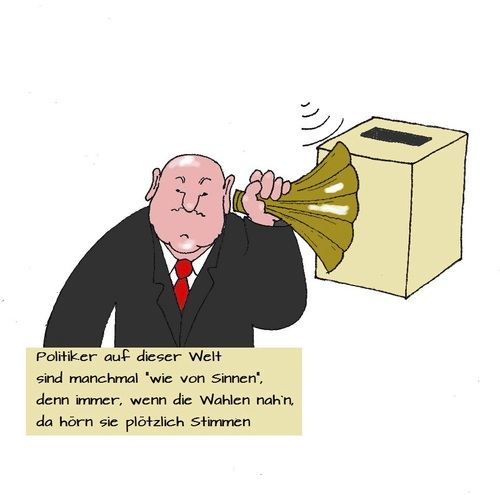 Cartoon: Stimmen hören (medium) by Retlaw tagged wahlen
