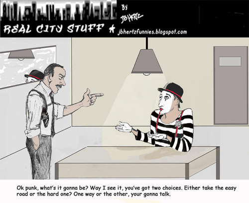 Cartoon: mime grilling (medium) by optimystical tagged mime,law,interrogation,talk,informant,criminal,detective,mute