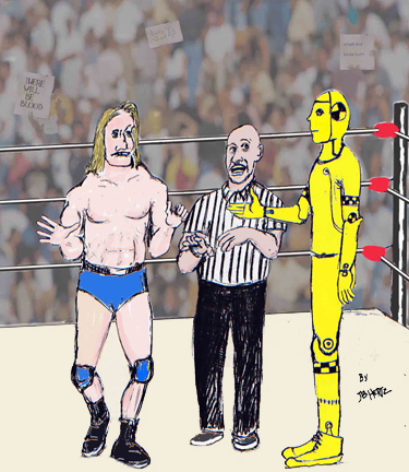 Cartoon: Ok lets wrestle (medium) by optimystical tagged strange,opponent,wrestler,wrestling,referee,match,sports,event,crowd,cheers,crash,test,dummie