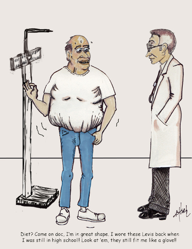 Cartoon: Over weight? Not me! (medium) by optimystical tagged weight,denial,fat,obese,doctor,advice