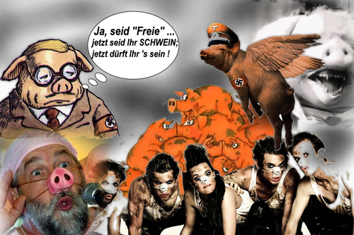 Cartoon: Schwein sein (medium) by eCollage tagged egoismus,gier,kapitalismus,faschismus