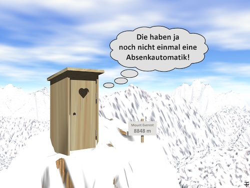 Cartoon: Everest (medium) by thalasso tagged berg,toilette,klo,klobrille,himalaya,mount,everest,gipfel,klohäuschen
