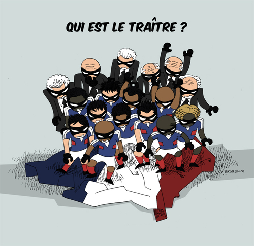 Cartoon: Who is the traitor ? (medium) by Thomas Berthelon tagged berthelon,thomas,worldcup,world,cup,2010,mondial,anelka,football,domenech