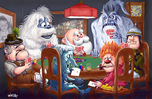 Cartoon: Christmas Cards (medium) by karlwimer tagged rankin,bass,santa,playing,cards,poker,christmas,holidays