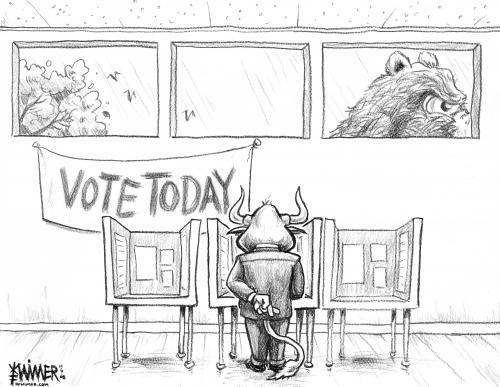 Cartoon: Crossed Fingers Vote (medium) by karlwimer tagged bear,bull,stockmarket,us,election,obama,mccain,uncertainty,president