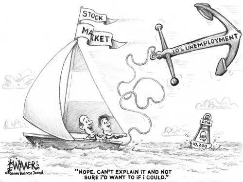 Cartoon: Floating Anchor (medium) by karlwimer tagged economy,business,market,recovery,recession,unemployment,optimism,stockmarket