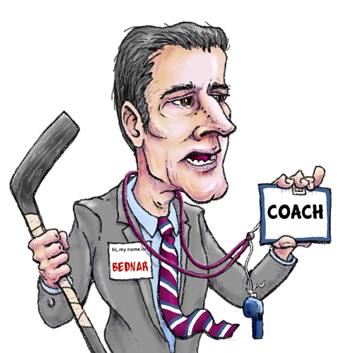 Cartoon: Jared Bednar New Avalanche Coach (medium) by karlwimer tagged jared,bednar,colorado,avalanche,coach,hockey,sports