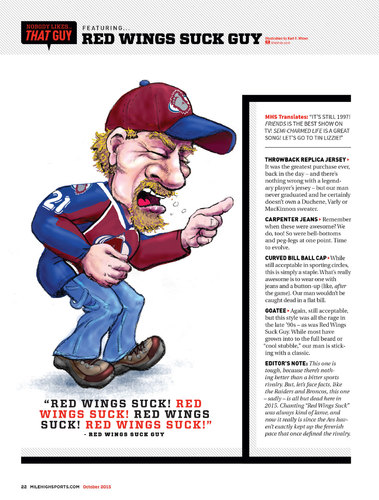 Cartoon: That Red Wings Suck Guy (medium) by karlwimer tagged hockey,avalanche,redwings,sports,angry,cartoon,satire