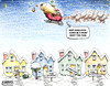 Cartoon: Santa Short Trip (small) by karlwimer tagged santa,christmas,xmas,sleigh,foreclosure,housing,toys,reindeer,economy,business