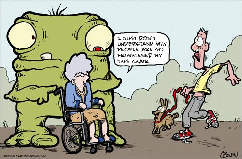 Cartoon: The Wheelchair... (medium) by GBowen tagged monster,wheelchair,scare,frighten,grandma,old,dog,walking