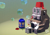 Cartoon: Blocky Monkey Blowing Bubbles (small) by birdbee tagged monkey bubbles blocks fez