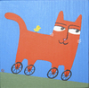 Cartoon: Roller Kitty (small) by birdbee tagged cat bird wheels roll painting acrylics