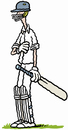 Cartoon: A thin batsman (small) by Ellis Nadler tagged cricket,cricketer,batsman,tall,thin,skinny,sport,england,helmet,pads,gloves