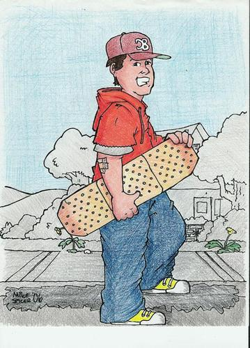 Cartoon: Its all sidewalk (medium) by Mike Spicer tagged mikespicer,cartoonist,caricature,skateboarder,skateboard,funny,colour