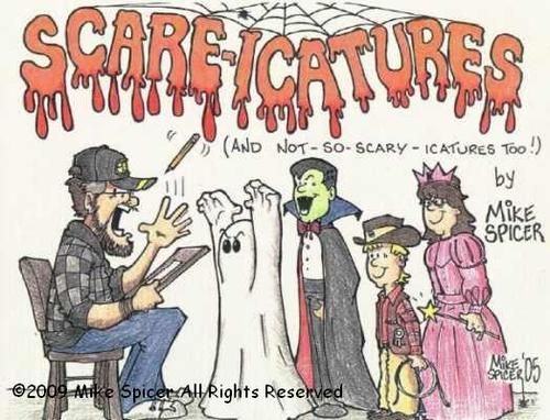 Cartoon: Scaricatures (medium) by Mike Spicer tagged mike,spicer,cartooninst,humour,caricature,kids,halloween,colour