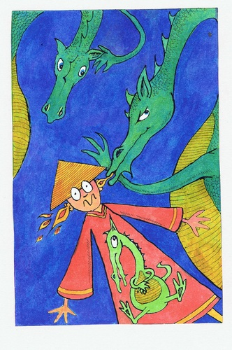 Cartoon: Chinese Whispers (medium) by Kerina Strevens tagged whisper,talk,fire,dragons,dragon