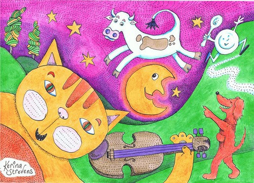 Cartoon: Hey Diddle Diddle (medium) by Kerina Strevens tagged diddle,rhyme,nursery,spoon,dish,fun,laugh,dog,moon,jump,cow,music,fiddle,cat