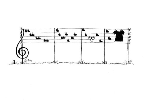 Cartoon: Musicians Washing Line 2 (medium) by Kerina Strevens tagged musician,music,stave,notes,washing,line
