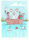Cartoon: Three Men In A Boat (small) by Kerina Strevens tagged colour,men,boat,butcher,baker,candlestick,maker