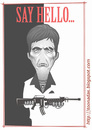 Cartoon: Scarface (small) by Freelah tagged al pacino scarface little friend