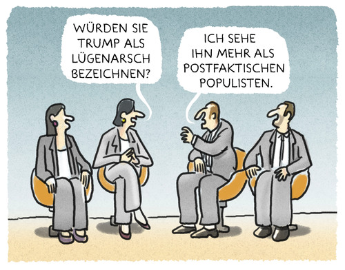 Cartoon: ...Diskurs... (medium) by markus-grolik tagged postfaktisch,populist,populismus,talk,talkshow,tagesthemen,tv,fernsehen,postfaktisch,populist,populismus,talk,talkshow,tagesthemen,tv,fernsehen
