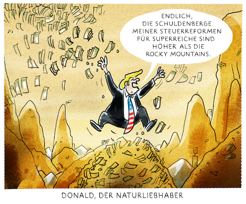 Cartoon: ...money first... (medium) by markus-grolik tagged usa,trump,steuereform,reich,arm,naturschutz,umwelt,washington,us,donaldnaturreservat,fracking,usa,trump,steuereform,reich,arm,naturschutz,umwelt,washington,us,donaldnaturreservat,fracking