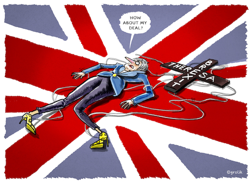 Cartoon: ..Niederlage.. (medium) by markus-grolik tagged brexit,no,deal,misstrauensvotum,theresa,may,london,eu,europe,unterhaus,brexit,no,deal,misstrauensvotum,theresa,may,london,eu,europe,unterhaus