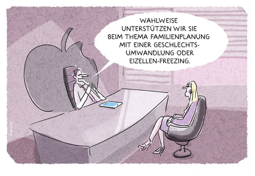 Cartoon: Unternehmensfamilie (medium) by markus-grolik tagged apple,facebook,unternehmen,social,freezing,familienplanung,quote,führungsposition,karriere,cartoon,grolik,apple,facebook,unternehmen,social,freezing,familienplanung,quote,führungsposition,karriere,cartoon,grolik
