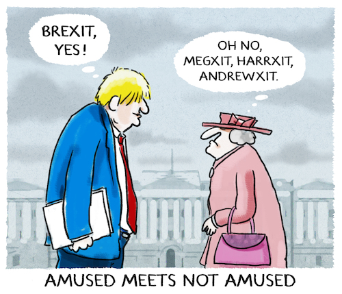 Cartoon: ...you ll never walk alone... (medium) by markus-grolik tagged queen,royals,harry,meghan,london,koenigshaus,teilzeitkuendigung,ruecktritt,england,brexit,boris,johnson,andrew,queen,royals,harry,meghan,london,koenigshaus,teilzeitkuendigung,ruecktritt,england,brexit,boris,johnson,andrew