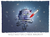 Cartoon: ..Attacke... (small) by markus-grolik tagged wanna,cry,computervirus,nsa,digital,internet,cyberkrieg,cyberangriff,computer,windows,microsoft,pc,hacken,bitcoin