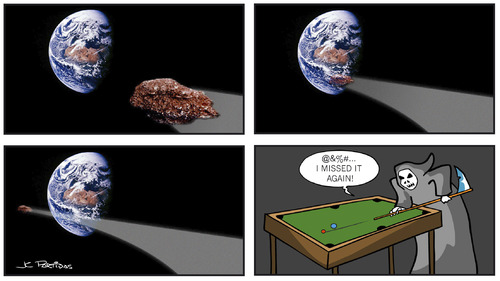 Cartoon: Asteroid (medium) by Juan Carlos Partidas tagged extinction,tragedy,near,close,sport,life,planet,earth,asteroids,meteors,meteor,stars,asteroid,missing,missed,miss,table,billiard,pool,death,grimm