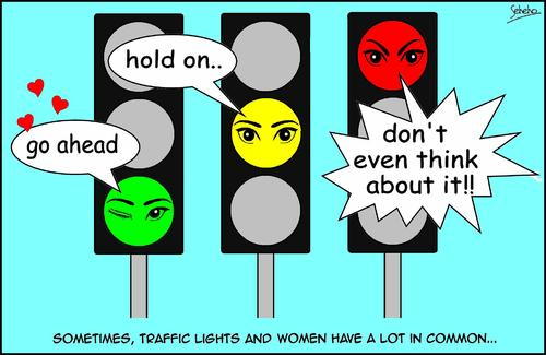 Cartoon: TRAFFIC LIGHTS (medium) by Thamalakane tagged traffic,lights,women