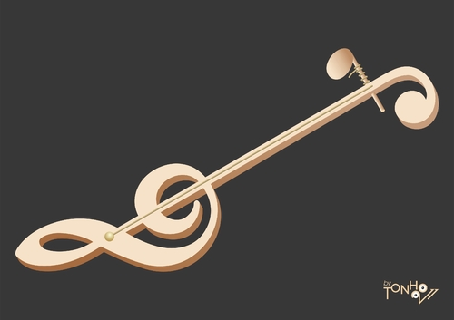 Cartoon: Fiddle (medium) by Tonho tagged clave,de,sol