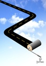 Cartoon: Road II (small) by Tonho tagged road,way,path,sky,star,space
