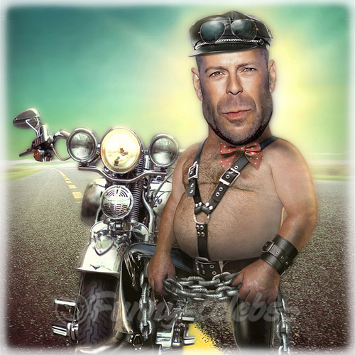 Cartoon: Bruce Willis (medium) by funny-celebs tagged bikers,motorcycle,planet,shepherd,cybill,moore,demi,fiction,pulp,armageddon,element,fifth,hard,die,blockbuster,movies,action,singer,actor,hollywood,willis,bruce,leather