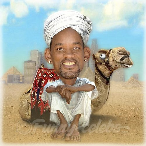 Cartoon: Will Smith (medium) by funny-celebs tagged will,smith,actor,producer,rapper,hollywood,west,philadelphia,penssylvania,the,fresh,prince,hip,hop,men,in,black,desert,camel
