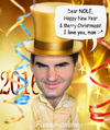 Cartoon: Happy New Year by Roger Federer (small) by funny-celebs tagged rogerfederer,nole,novakdjokovic,happynewyear,tennis,2016