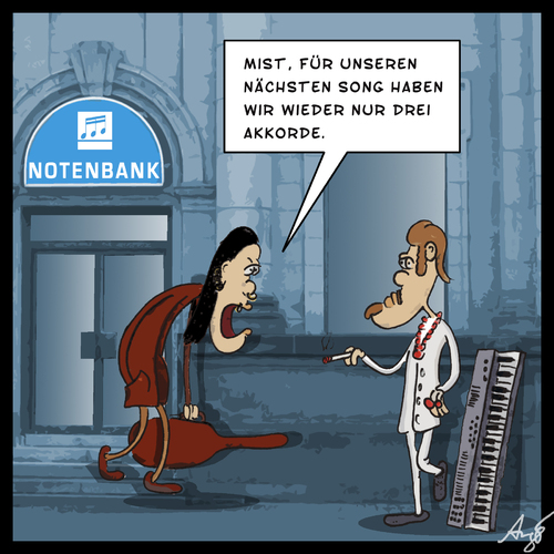 Cartoon: Notenbank (medium) by Anjo tagged note,bank,notenbank,akkord,musik,musiker,bass,keyboard,note,bank,notenbank,akkord,musik,musiker,bass,keyboard