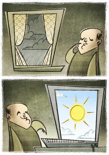 Cartoon: The Windows (medium) by Giacomo tagged internet,windows,sun,clouds,weather