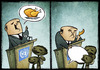Cartoon: nato summit (small) by Giacomo tagged nato,summit,beneficence,poverty,wealth,aid,hunger,food,chicken,policy,promises,campaign,g20g8,giacomo,cardelli