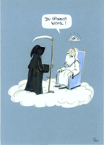 Cartoon: Du spinnst wohl?! (medium) by POLO tagged gott,tod,himmel,gott,tod,himmel