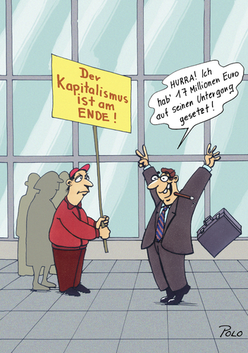 Cartoon: Kapitalismus am Ende (medium) by POLO tagged kapitalismus,banker,protest,kapitalismus,banker,protest