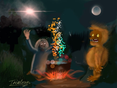 Cartoon: Praying (medium) by George Trialonis tagged concept,art,trialonis,praying,merlin,night,other,world