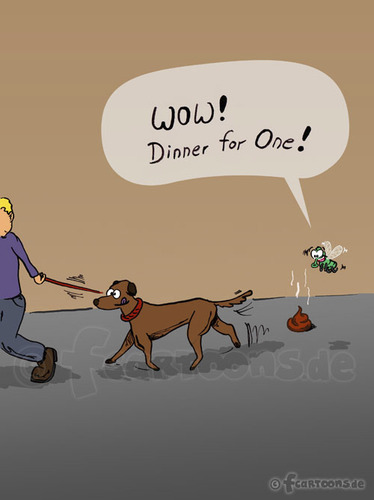 Cartoon: DINNER FOR ONE (medium) by fcartoons tagged hund,fliege,scheiße,one,for,dinner,wow,fly,shit,street,straße,gassi,fcartoons,leash