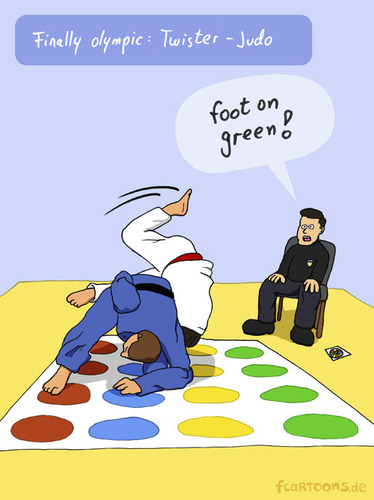 Cartoon: NEW SPORT (medium) by fcartoons tagged new,sport,olympic,ref,judo,twister,yellow,green,red,blue,game,fcartoons,cartoon,comic,judoka