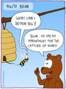 Cartoon: BEAR (small) by fcartoons tagged bear,bee,cartoon,honey,polite,comb,tree,branch,comic