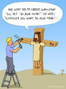 Cartoon: DO YOUR THING! (small) by fcartoons tagged cartoon cross do your thing handy hammer jesus mach dein ding nagel nageln ladder man nail worker