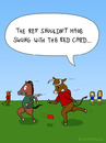 Cartoon: RED CARD (small) by fcartoons tagged red,card,soccer,football,fußball,schiri,schiedsrichter,pferd,stier,rot,cartoon,comic,bull,horse,lion,lions,ref,referee,grass,green