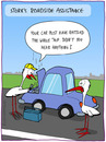 Cartoon: ROADSIDE ASSISTANCE (small) by fcartoons tagged roadside,assistance,stork,car,steam,street
