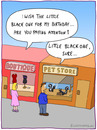 Cartoon: THE LITTLE BLACK ONE (small) by fcartoons tagged little black one cartoon skunk shop man woman store pet listen buy windows boutique dress pink misunderstanding birthday geburtstag tier kleid